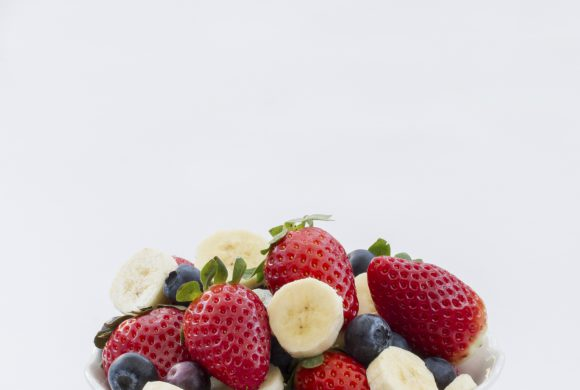 Strawberry, banana and lemon salad