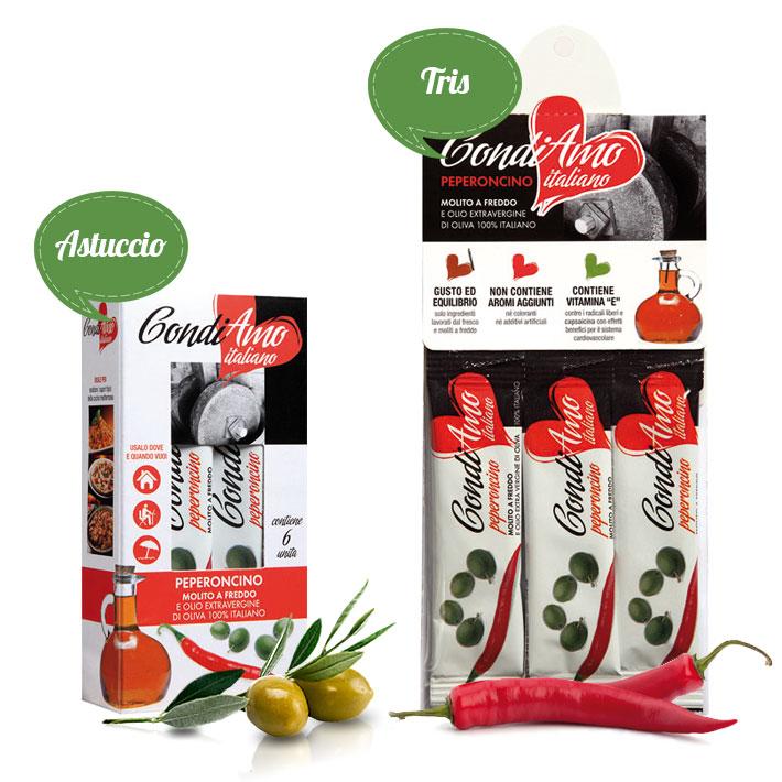 Monodosi di olio extravergine al peperoncino in astuccio e confezione tris