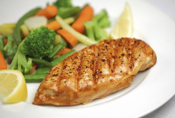 Lemon Marinated Chicken with Celery and Carrots Julienne