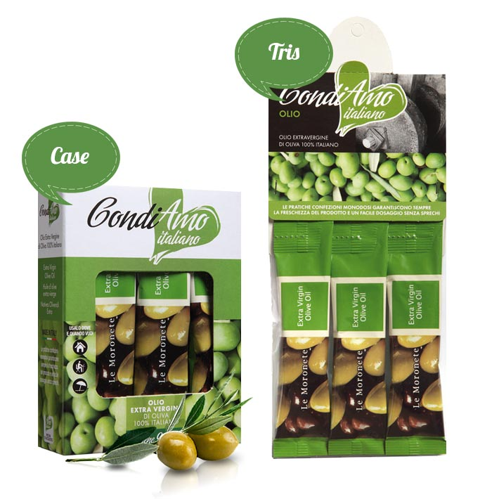 Extra virgin oil single-serving packs in tris and case packages