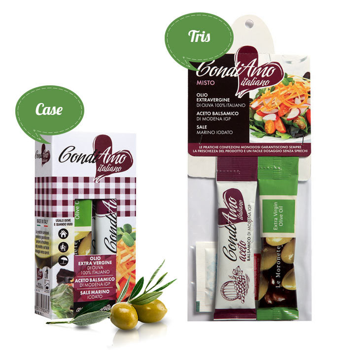 Oil, aromatic vinegar and sea salt single-serving packs in tris and case packages
