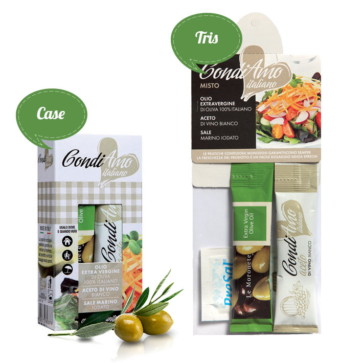 Extra virgin oil, vinegar and sea salt single-serving packs in tris and case packages