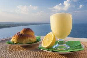 Sicilian lemon granita and a typical warm brioche