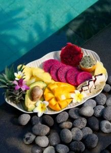 Tropical fruits, Exotic fruits from Bali Indonesia by the swimming pool