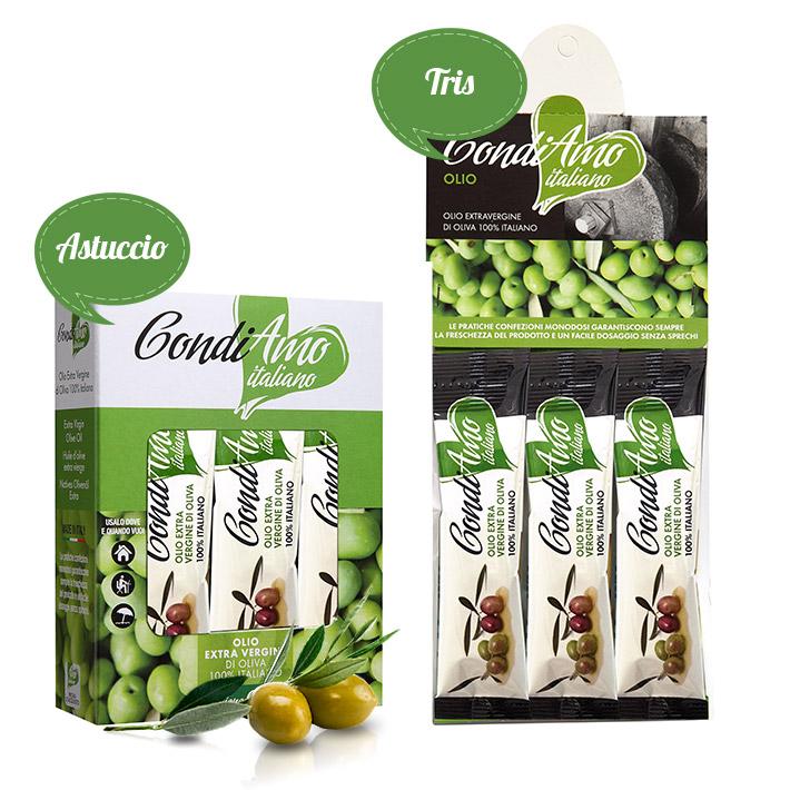Monodosi di olio extravergine di oliva, in versione astuccio e tris