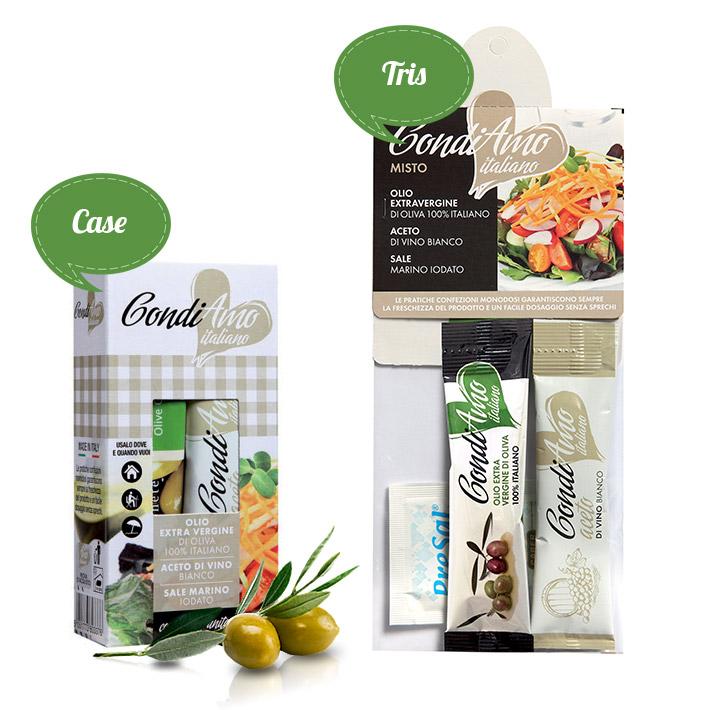 Extra virgin oil, vinegar and sea salt single-serving packs in tris and case packages
