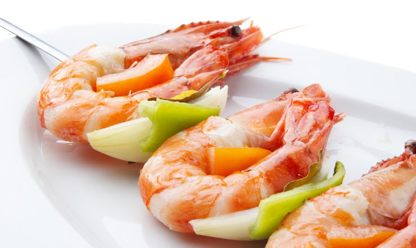 Melon, Shrimps, Avocado and Lime Skewers