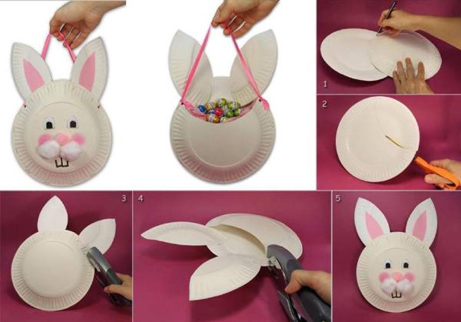 Borsetta coniglietta fai da te realizzata con piatti di carta