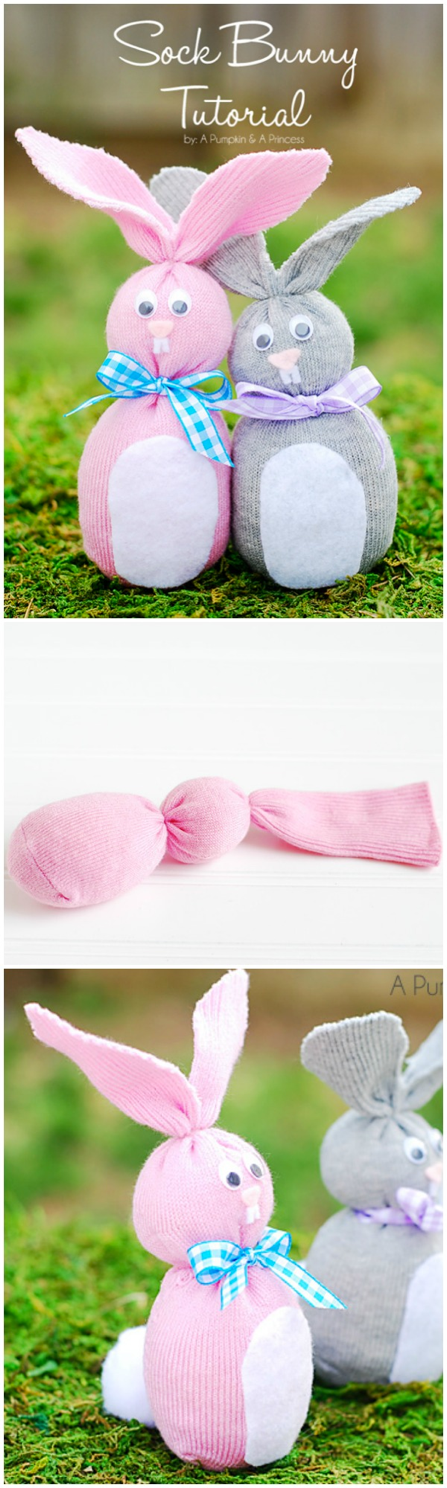 Conigli realizzati con i calzini