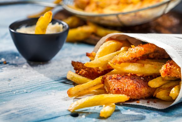 UK: Fish & Chips with Lemon Vinaigrette