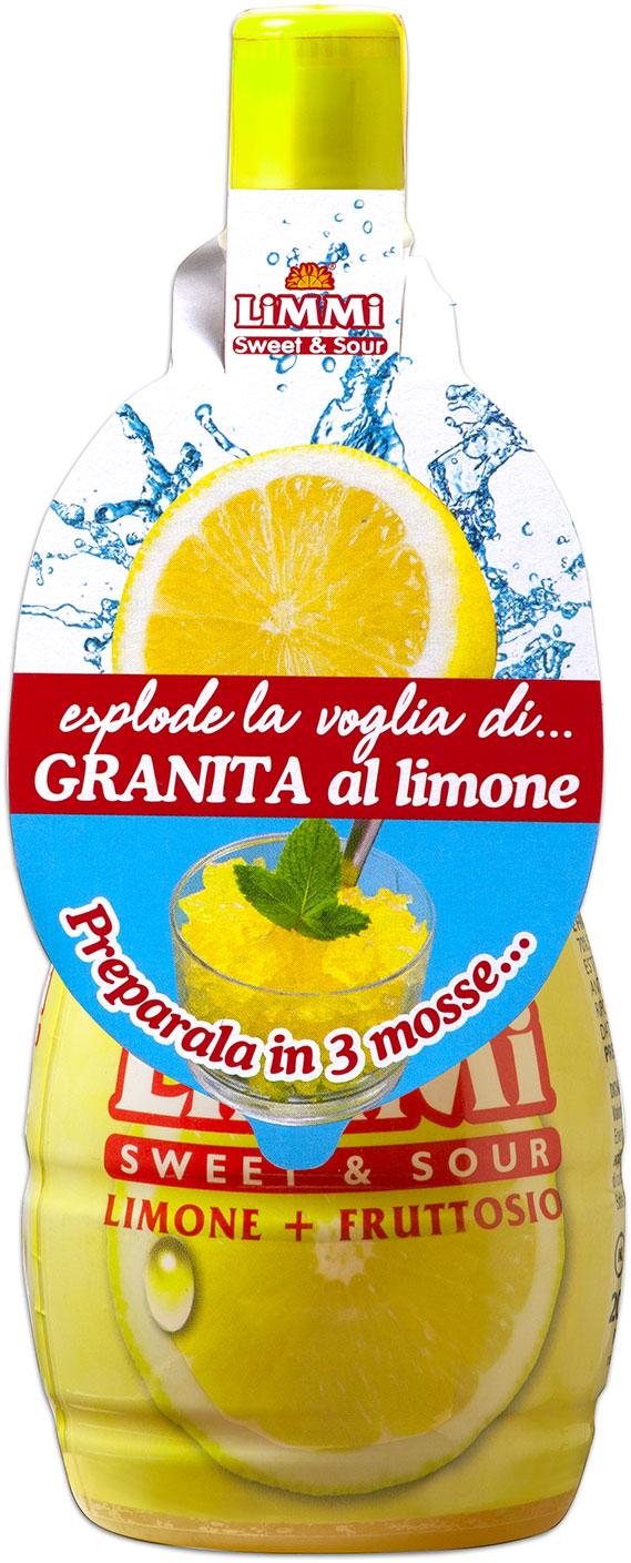 Bottiglietta di succo di limone Limmi Sweet & Sour con collarino dedicato alla granita al limone