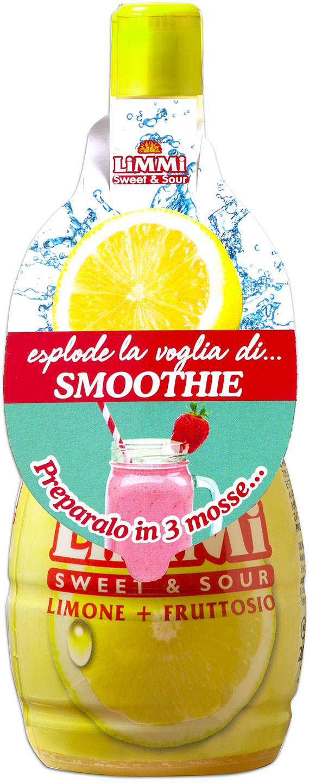 Bottiglietta di succo di limone Limmi Sweet & Sour con collarino dedicato agli smoothie