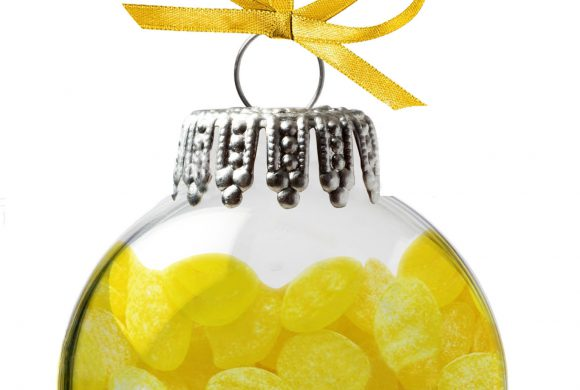 Christmas globes filled with lemon candy