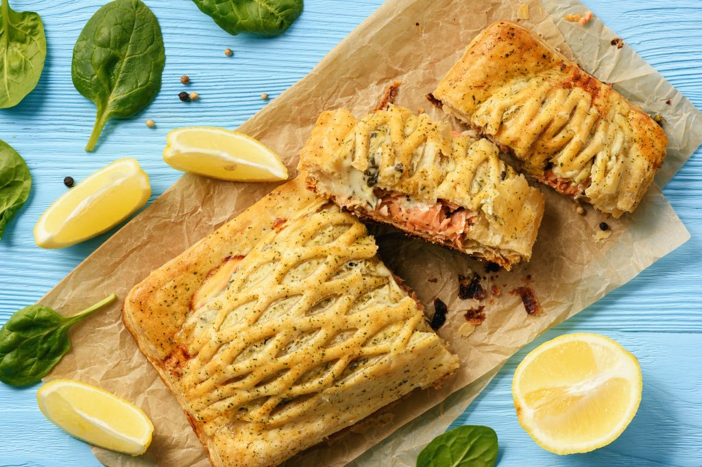 Salmon and zucchini puff pastry