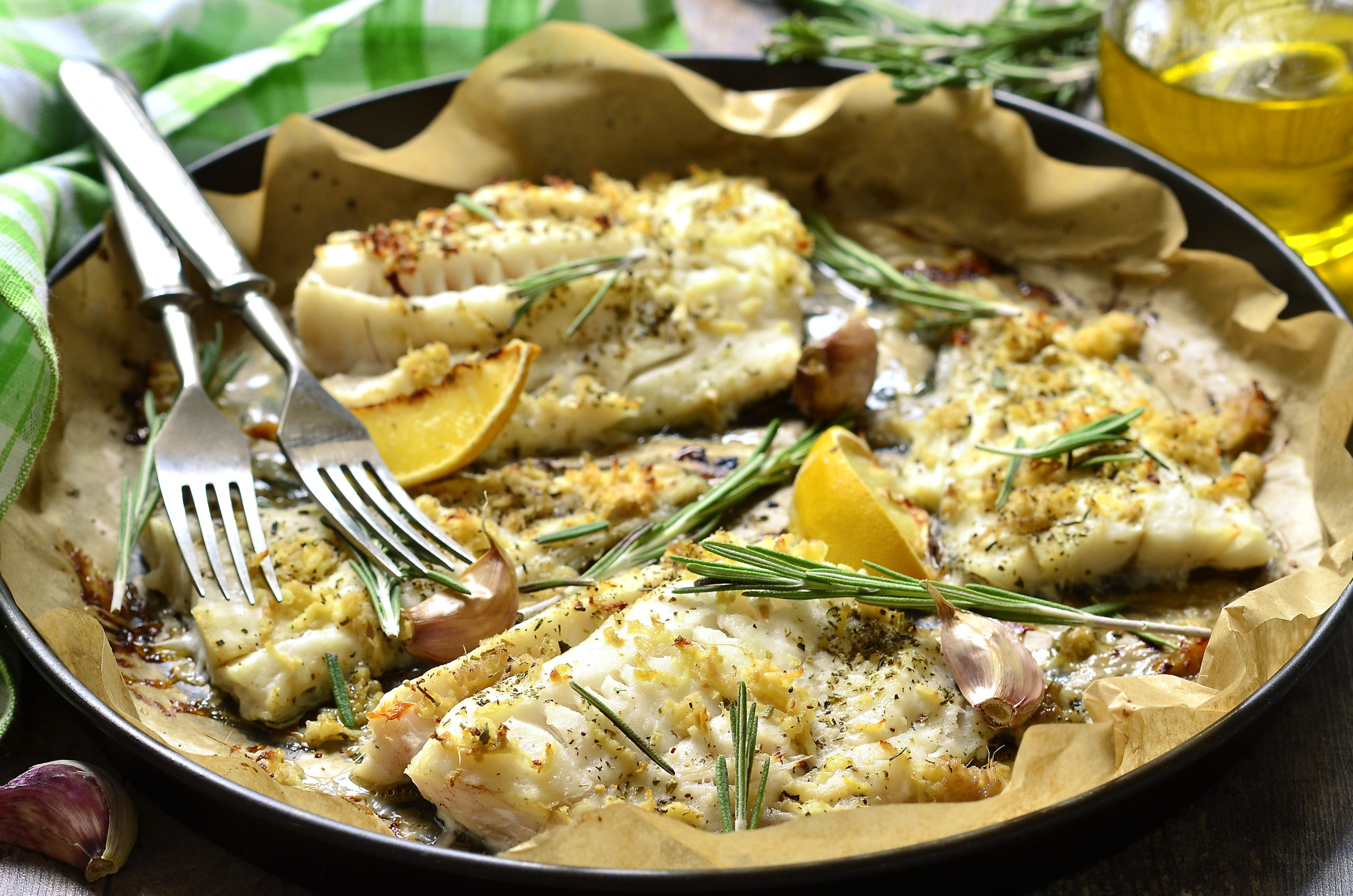 Codfish with lemon and ginger sauce