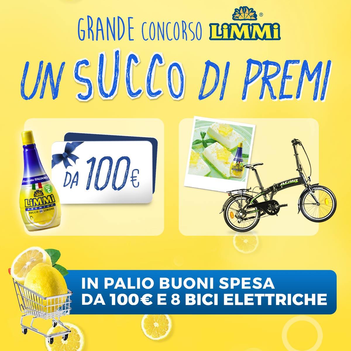 """Con il grande concorso Limmi """"Un succo di premi"""" in palio buoni spesa da 100 € e bici elettriche"""